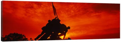 Silhouette of statues at a war memorial, Iwo Jima Memorial, Arlington National Cemetery, Virginia, USA Canvas Art Print