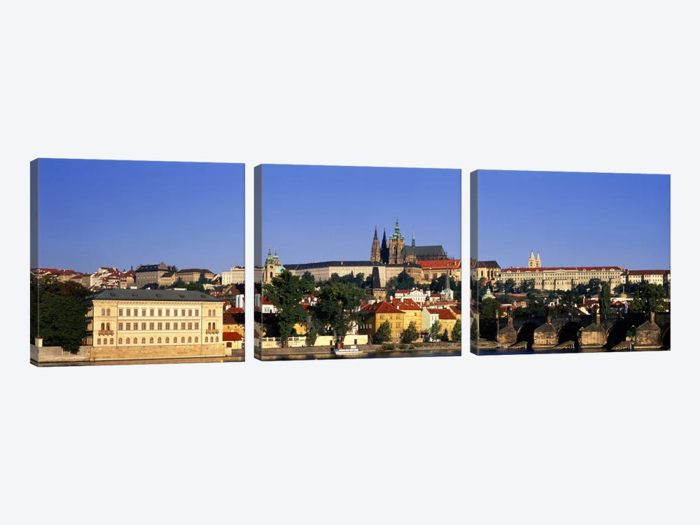Charles Bridge Prague Czech Republic by Panoramic Images 3-piece Canvas Wall Art