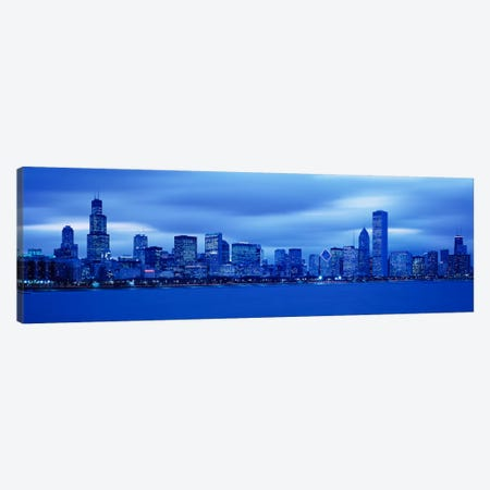View Of An Urban Skyline At Dusk, Chicago, Illinois, USA Canvas Print #PIM1714} by Panoramic Images Canvas Wall Art