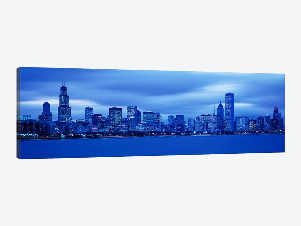 View Of An Urban Skyline At Dusk, Chicago, Illinois, USA by Panoramic Images 1-piece Canvas Artwork