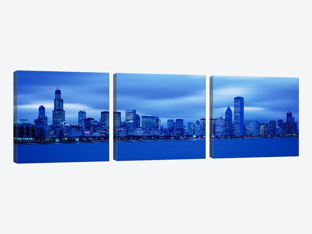 View Of An Urban Skyline At Dusk, Chicago, Illinois, USA by Panoramic Images 3-piece Canvas Art