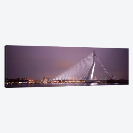 Illuminated Erasmus Bridge At Night, Rotterdam, Netherlands Canvas Print #PIM1716} by Panoramic Images Canvas Wall Art