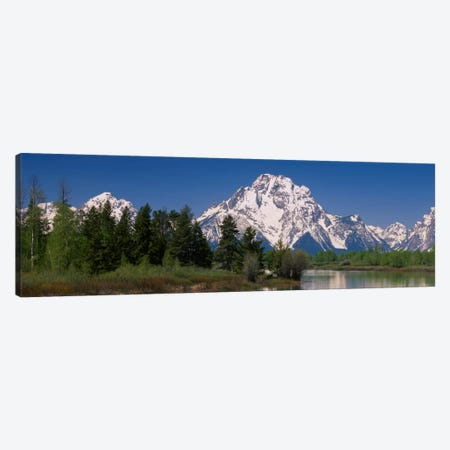 Snow-Covered Mount Moran As Seen From Oxbow Bend, Grand Teton National Park, Wyoming, USA Canvas Print #PIM1721} by Panoramic Images Canvas Art