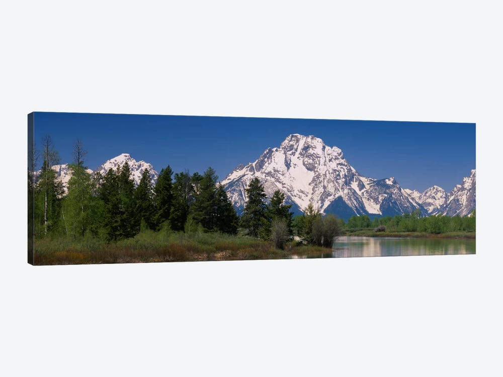 Snow-Covered Mount Moran As Seen From Oxbow Bend, Grand Teton National Park, Wyoming, USA by Panoramic Images 1-piece Canvas Artwork