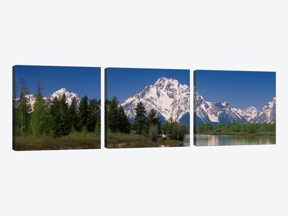 Snow-Covered Mount Moran As Seen From Oxbow Bend, Grand Teton National Park, Wyoming, USA by Panoramic Images 3-piece Canvas Art