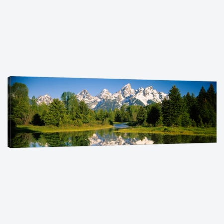 Snow-Capped Teton Range As Seen From Schwabacher's Landing, Grand Teton National Park, Wyoming, USA Canvas Print #PIM1722} by Panoramic Images Canvas Art