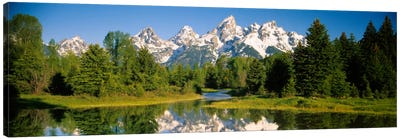 Snow-Capped Teton Range As Seen From Schwabacher's Landing, Grand Teton National Park, Wyoming, USA Canvas Art Print
