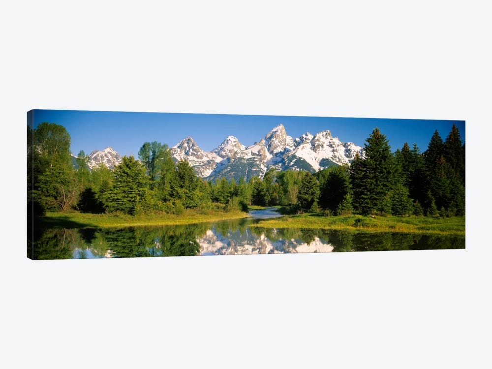 Snow-Capped Teton Range As Seen From Schwabacher's Landing, Grand Teton National Park, Wyoming, USA by Panoramic Images 1-piece Art Print