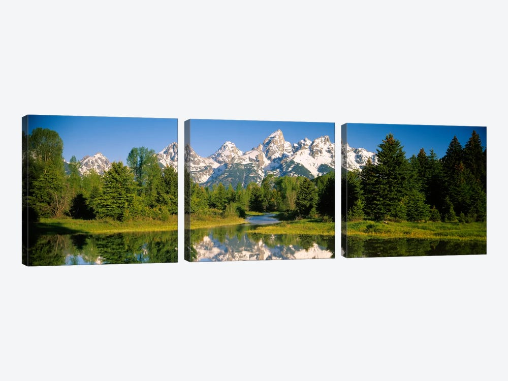 Snow-Capped Teton Range As Seen From Schwabacher's Landing, Grand Teton National Park, Wyoming, USA by Panoramic Images 3-piece Art Print