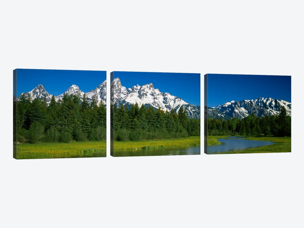 Mountain Landscape, Teton Range, Grand Teton National Park, Wyoming, USA by Panoramic Images 3-piece Canvas Art Print