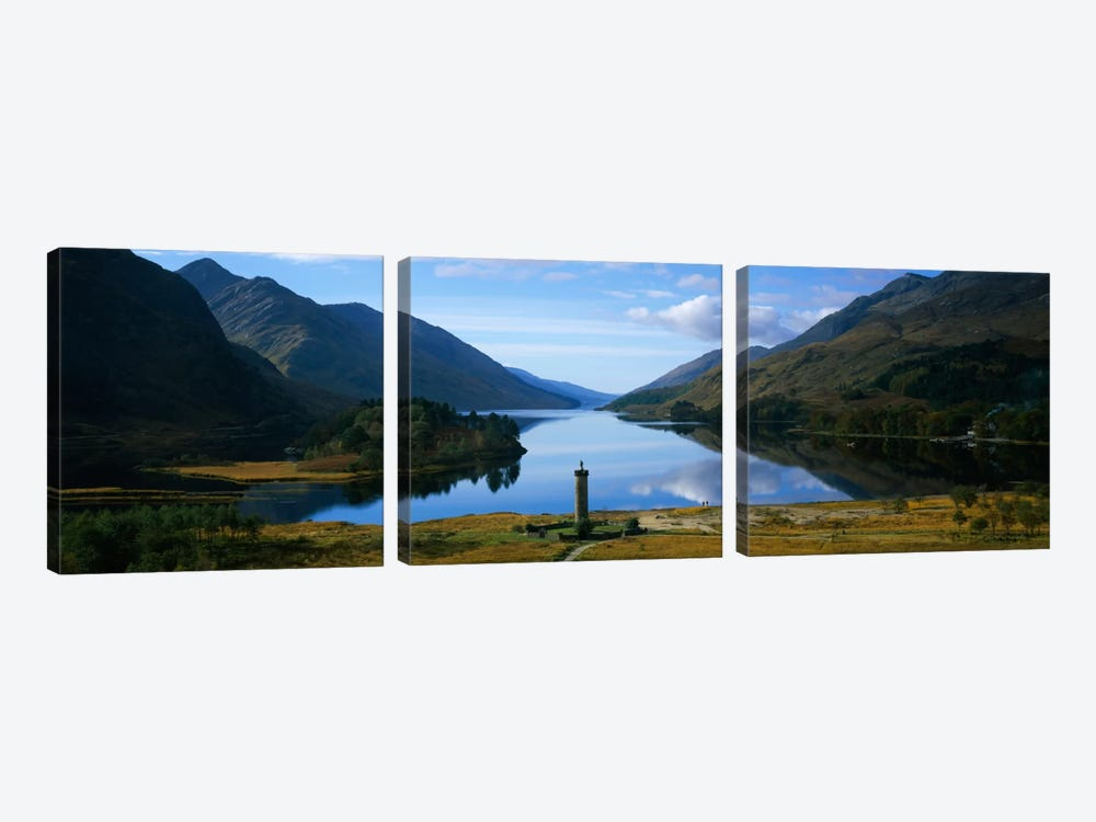Glenfinnan Monument & Loch Shiel, Glenfinnan, Highlands, Scotland, United Kingdom by Panoramic Images 3-piece Canvas Wall Art