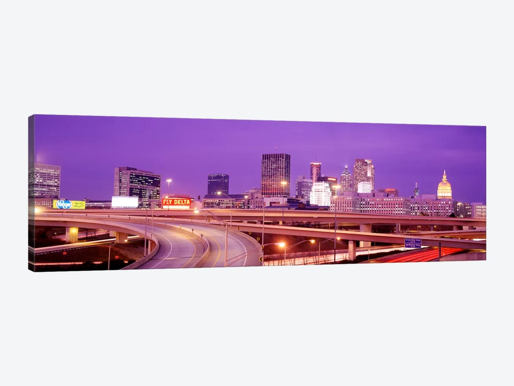 USA, Georgia, Atlanta, Skyline at dusk 1-piece Canvas Wall Art