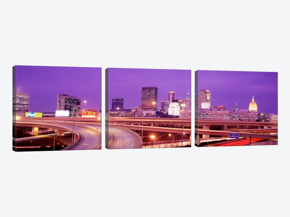 USA, Georgia, Atlanta, Skyline at dusk 3-piece Canvas Wall Art