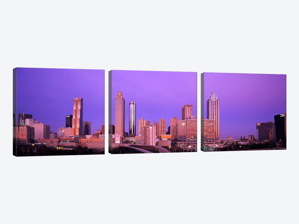Skyscrapers in a city, Atlanta, Georgia, USA by Panoramic Images 3-piece Canvas Wall Art