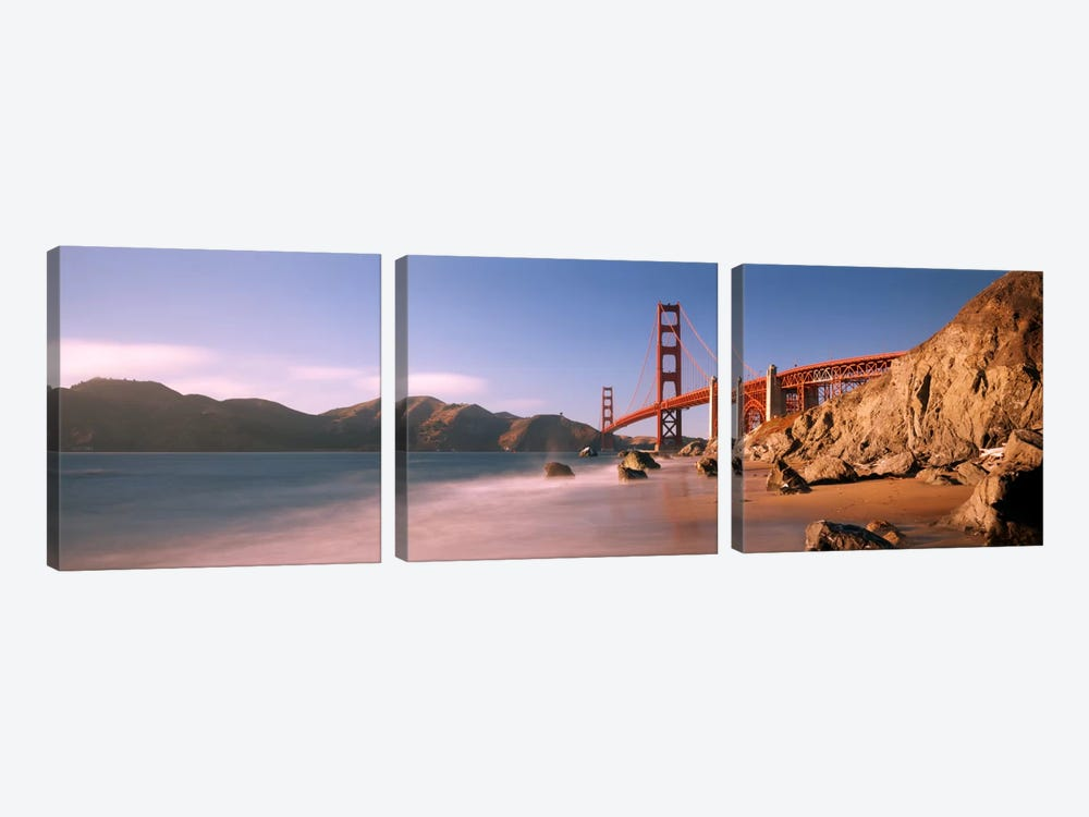 Bridge across a sea, Golden Gate Bridge, San Francisco, California, USA by Panoramic Images 3-piece Canvas Art Print