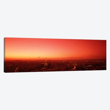 Red Filtered Aerial View, Paris, Ile-de-France, France Canvas Print #PIM1759} by Panoramic Images Art Print