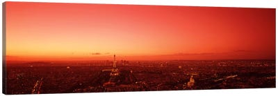 Red Filtered Aerial View, Paris, Ile-de-France, France Canvas Print #PIM1759