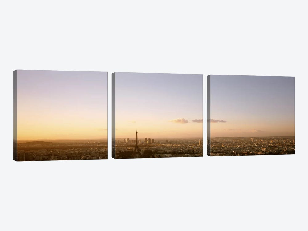 Aerial View At Sunrise, Paris, France by Panoramic Images 3-piece Canvas Art