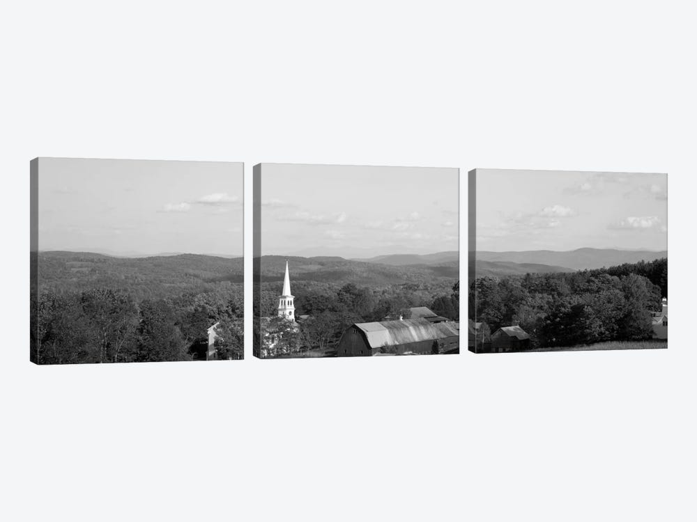 High angle view of barns in a field, Peacham, Vermont, USA #2 by Panoramic Images 3-piece Canvas Wall Art