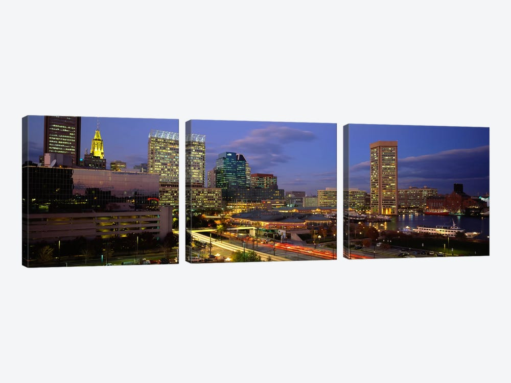 High angle view of a cruise ship docked at a harbor, Inner Harbor, Baltimore, Maryland, USA by Panoramic Images 3-piece Canvas Art