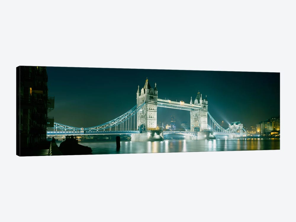 Low angle view of a bridge lit up at nightTower Bridge, London, England by Panoramic Images 1-piece Canvas Art