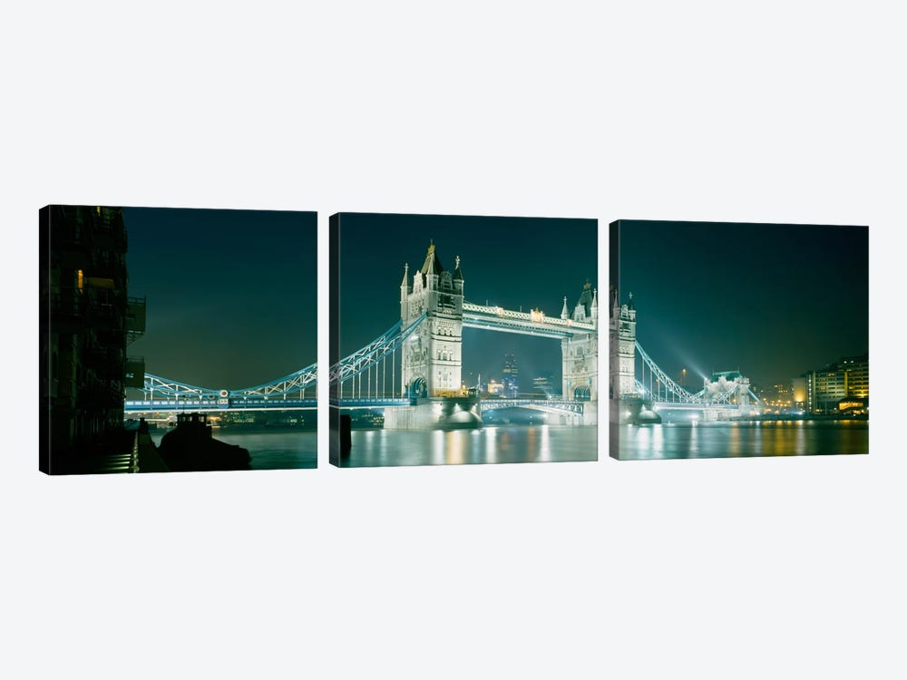 Low angle view of a bridge lit up at nightTower Bridge, London, England by Panoramic Images 3-piece Canvas Wall Art