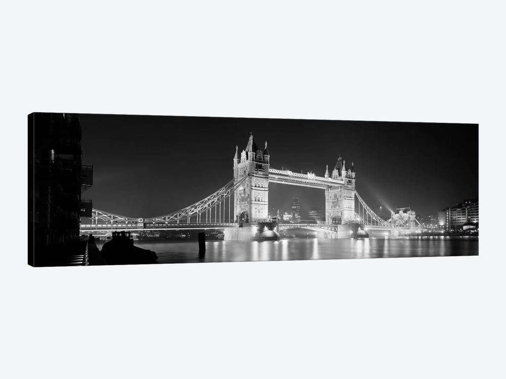Low angle view of a bridge lit up at night, Tower Bridge, London, England (black & white) by Panoramic Images 1-piece Canvas Artwork