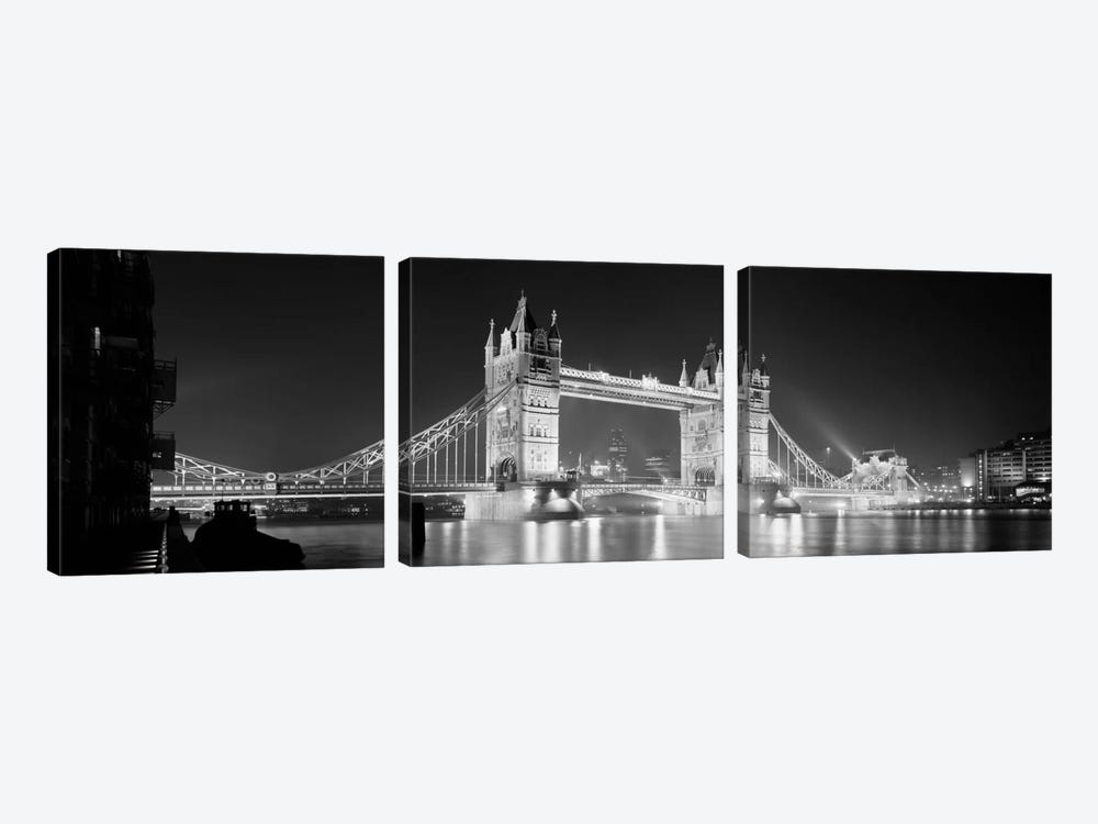 Low angle view of a bridge lit up at night, Tower Bridge, London, England (black & white) by Panoramic Images 3-piece Canvas Art