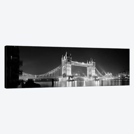 Low angle view of a bridge lit up at night, Tower Bridge, London, England (black & white) Canvas Print #PIM176bw} by Panoramic Images Canvas Wall Art