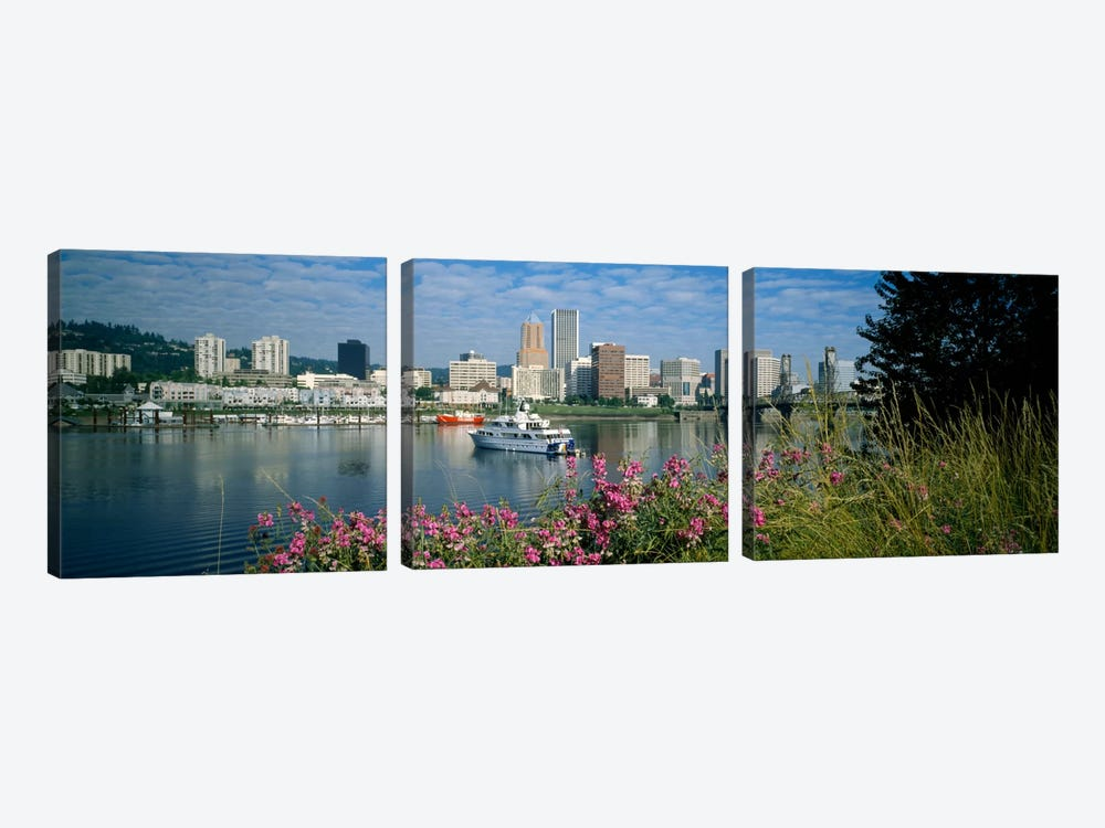 Boat in the sea, Portland, Oregon, USA, 1999 by Panoramic Images 3-piece Canvas Art