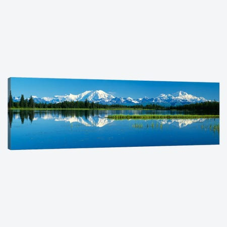 Reflection Of Mountains In Lake, Mt Foraker And Mt Mckinley, Denali National Park, Alaska, USA Canvas Print #PIM177} by Panoramic Images Canvas Art Print