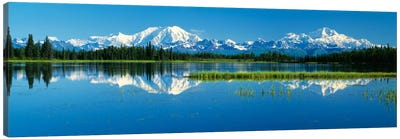 Reflection Of Mountains In Lake, Mt Foraker And Mt Mckinley, Denali National Park, Alaska, USA Canvas Art Print