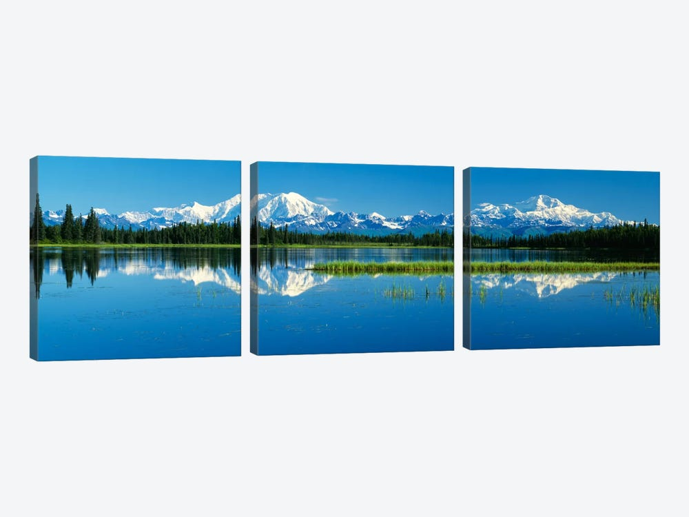 Reflection Of Mountains In Lake, Mt Foraker And Mt Mckinley, Denali National Park, Alaska, USA by Panoramic Images 3-piece Canvas Art Print