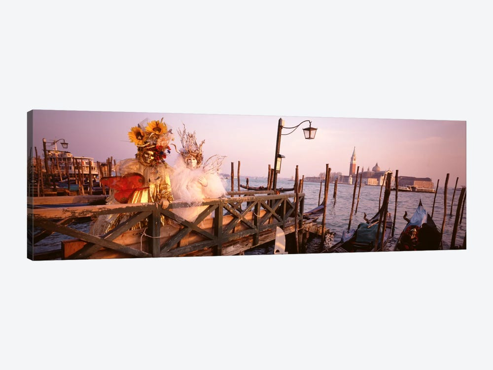 Italy, Venice, St MarkÕs Basin, people dressed for masquerade by Panoramic Images 1-piece Canvas Artwork