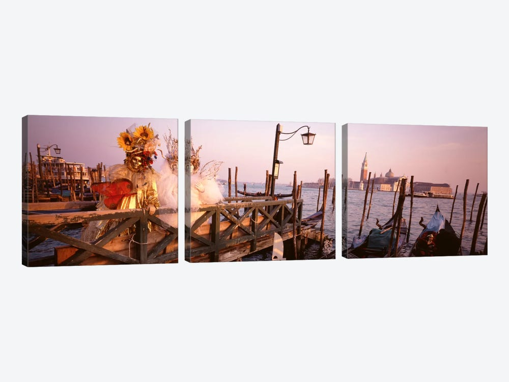 Italy, Venice, St MarkÕs Basin, people dressed for masquerade by Panoramic Images 3-piece Canvas Art