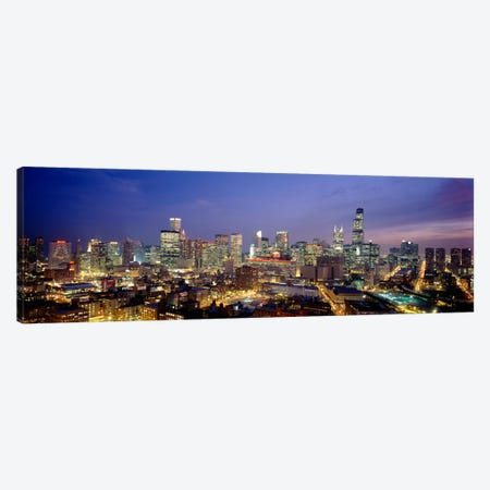 High Angle View Of Buildings Lit Up At Dusk, Chicago, Illinois, USA Canvas Print #PIM1787} by Panoramic Images Canvas Print