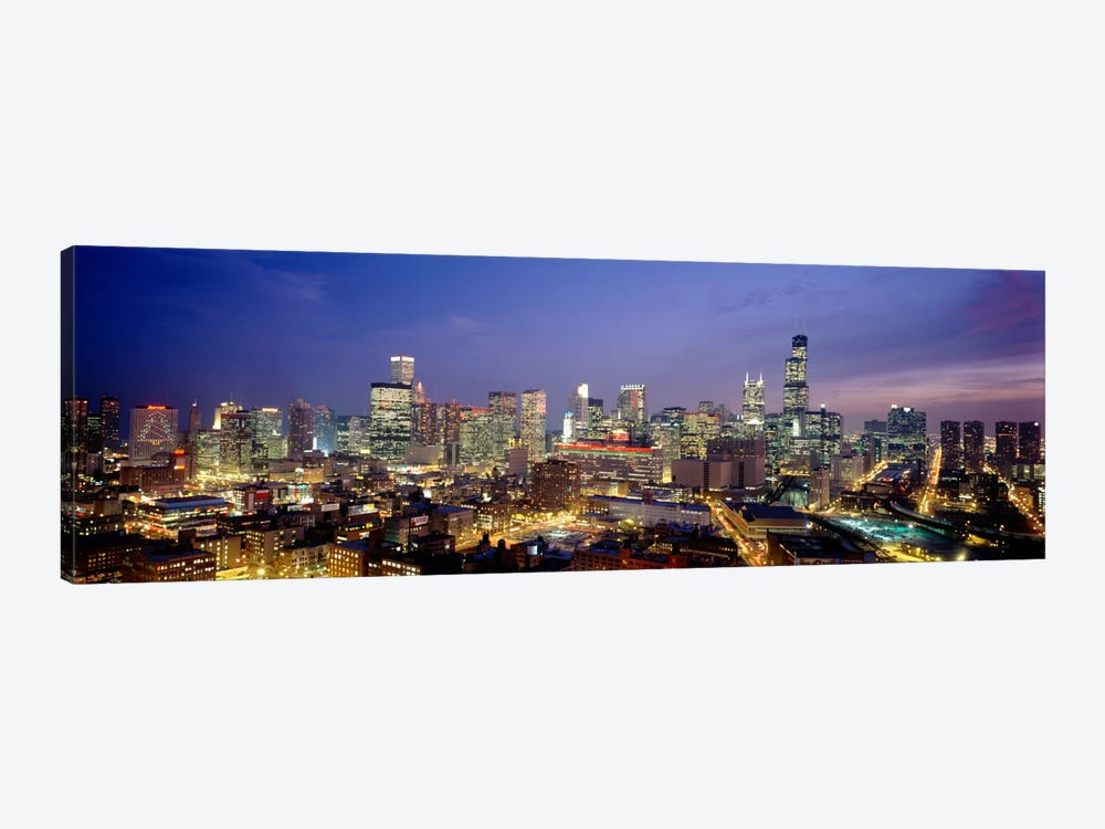 High Angle View Of Buildings Lit Up At Dusk, Chicago, Illinois, USA by Panoramic Images 1-piece Canvas Art
