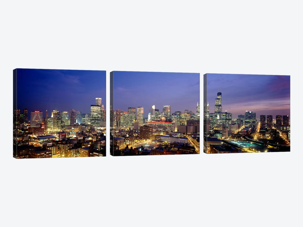 High Angle View Of Buildings Lit Up At Dusk, Chicago, Illinois, USA by Panoramic Images 3-piece Canvas Art