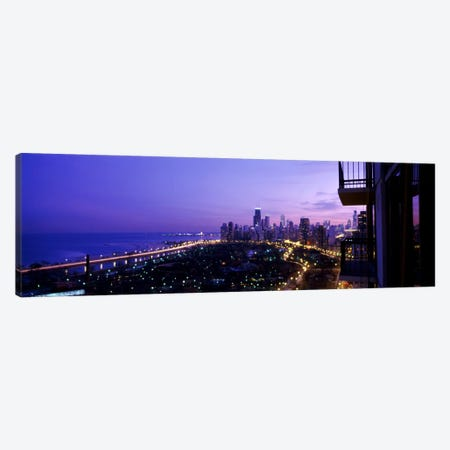 High angle view of a city at night, Lake Michigan, Chicago, Cook County, Illinois, USA Canvas Print #PIM1789} by Panoramic Images Canvas Art