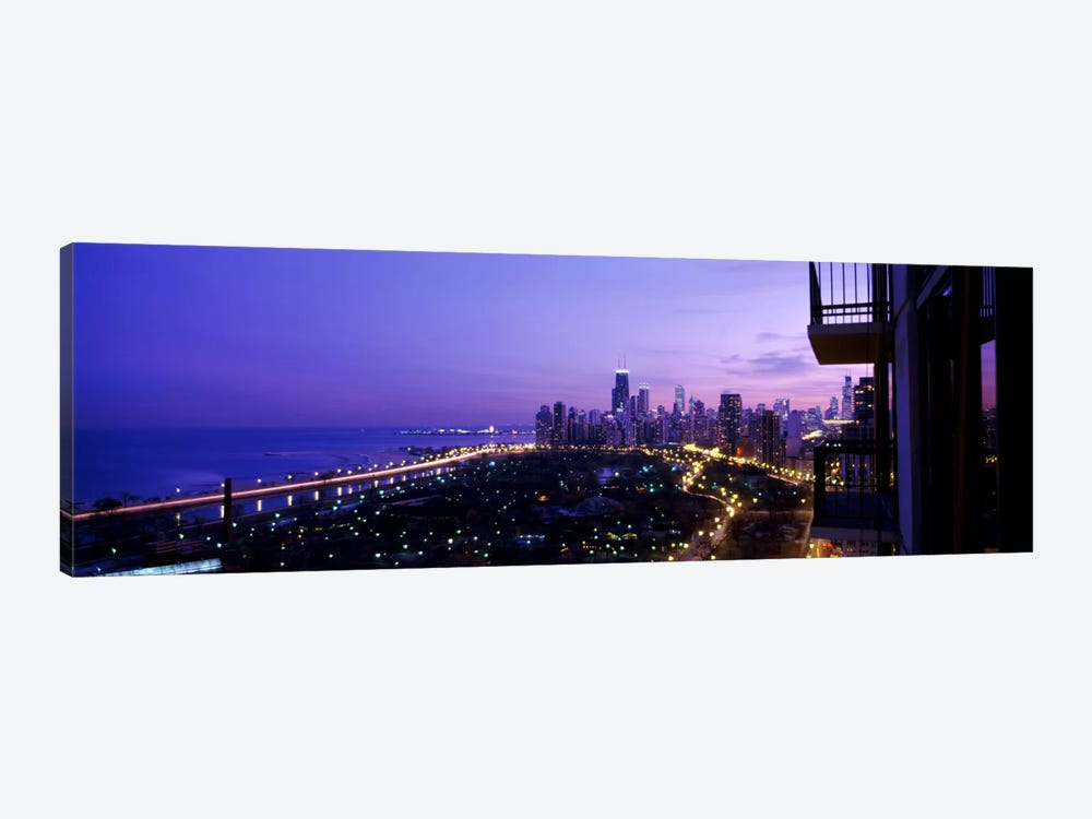 High angle view of a city at night, Lake Michigan, Chicago, Cook County, Illinois, USA by Panoramic Images 1-piece Canvas Art