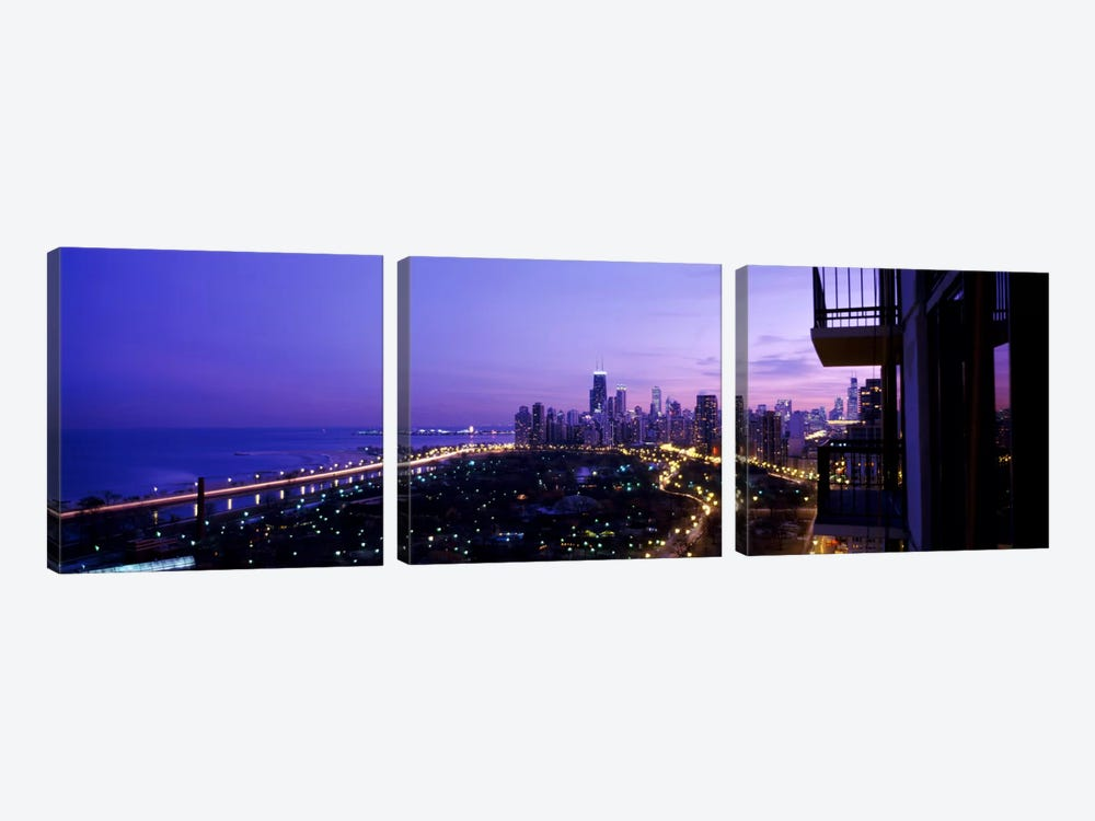 High angle view of a city at night, Lake Michigan, Chicago, Cook County, Illinois, USA by Panoramic Images 3-piece Canvas Artwork