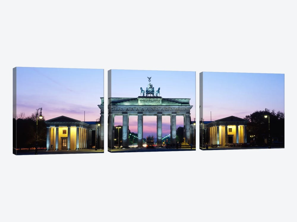 Brandenburg Gate At Dusk, Berlin, Germany 3-piece Canvas Art