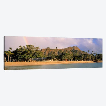 USA, Hawaii, Oahu, Honolulu, Diamond Head St Park, View of a rainbow over a beach resort Canvas Print #PIM1790} by Panoramic Images Canvas Art Print
