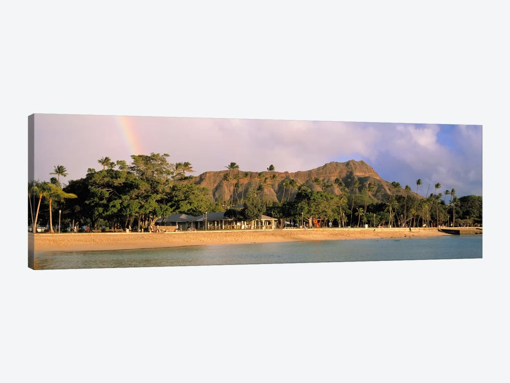 USA, Hawaii, Oahu, Honolulu, Diamond Head St Park, View of a rainbow over a beach resort by Panoramic Images 1-piece Canvas Art