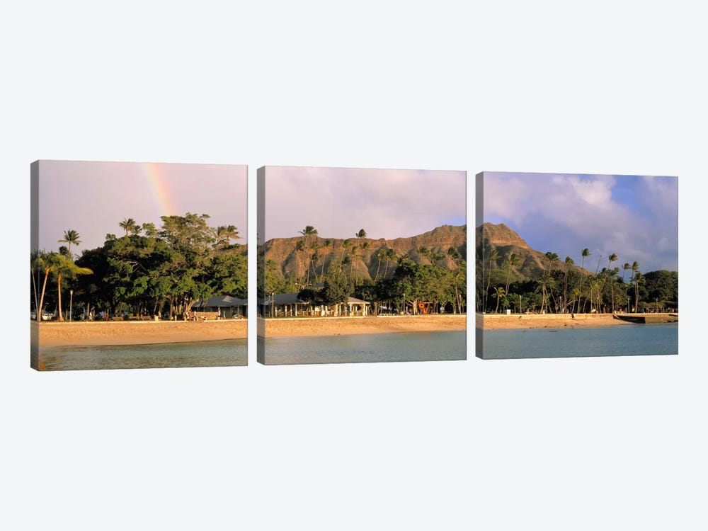 USA, Hawaii, Oahu, Honolulu, Diamond Head St Park, View of a rainbow over a beach resort by Panoramic Images 3-piece Canvas Wall Art