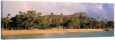 USA, Hawaii, Oahu, Honolulu, Diamond Head St Park, View of a rainbow over a beach resort Canvas Art Print