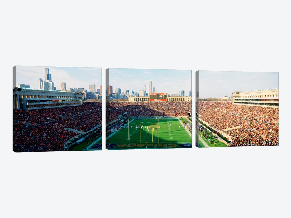 High angle view of spectators in a stadiumSoldier Field (before renovations), Chicago, Illinois, USA by Panoramic Images 3-piece Canvas Artwork