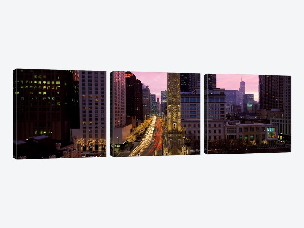 Buildings in a city, Michigan Avenue, Chicago, Cook County, Illinois, USA by Panoramic Images 3-piece Canvas Art Print