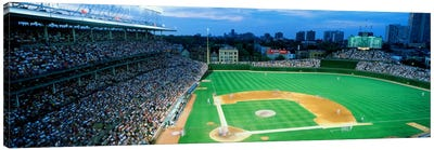 High angle view of spectators in a stadium, Wrigley Field, Chicago Cubs, Chicago, Illinois, USA Canvas Art Print