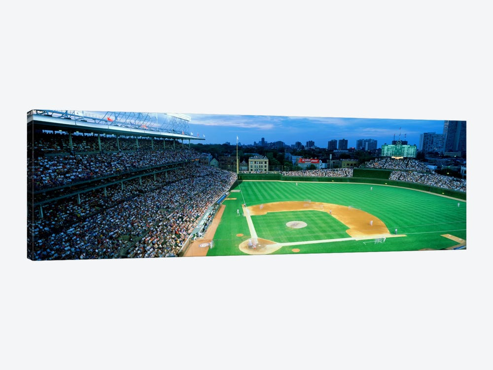 High angle view of spectators in a stadium, Wrigley Field, Chicago Cubs, Chicago, Illinois, USA by Panoramic Images 1-piece Canvas Print